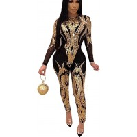 OLUOLIN Women Sexy Sparkly Sequins Lace up Backless Deep V Neck Sleeveless Bodycon Long Jumpsuit Romper Clubwear