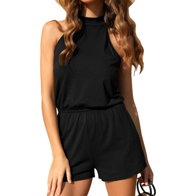 RAISEVERN Women Romper Halter Neck Short Jumpsuit Summer Casual Sleeveless Backless Button Rompers with Pockets