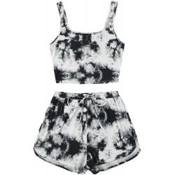 SweatyRocks Women's Suit 2 Piece Outfits Sleeveless Tie Dye Tank Top and Shorts Set