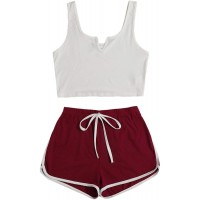 SweatyRocks Women's Suit Two Piece Outfits Sleeveless Crop Cami Top and Shorts Set at  Women's Clothing store
