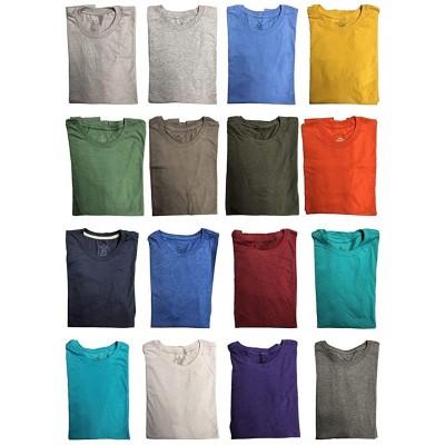 BILLIONHATS 24 Pack Mens Cotton Short Sleeve Lightweight T-Shirts Bulk Crew Tees for Guys Mixed Bright Colors Bulk Pack |