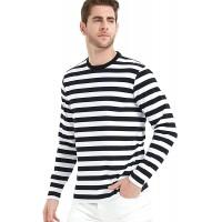 LEDING Men's T-Shirt Casual Striped Crewneck Long-Sleeve T-Shirts Basic Pullover Stripe Man tee Shirt |