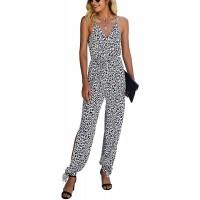 KIRUNDO 2021 Summer Women's Spaghetti Straps Jumpsuit Sleeveless Leopard Drawstring Belt Long Romper Overall with Pockets