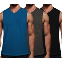 COOFANDY Men's 3 Pack Workout Tank Tops Gym Sleeveless Shirts V Neck Bodybuilding Muscle Tee Shirt
