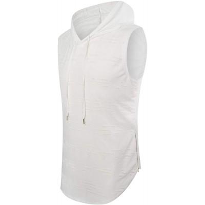 ONTTNO Mens Casual Hipster Hip Hop Sleeveless Hoodie Longline Tank-Top T Shirt Side Zipper
