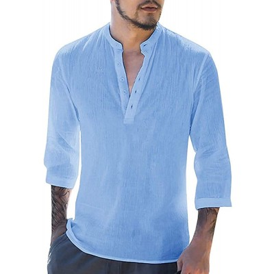 APRAW Mens Summer Henley Shirts Linen 3 4 Sleeves Beach Pullover Tees Loose Yoga Casual Tops at Men's Clothing store