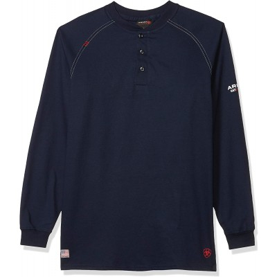 Ariat Men's Big and Tall Flame Resistant Work Henley Shirt at Men's Clothing store