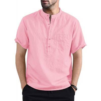 Bbalizko Mens Linen Cotton Henley Shirt Casual V Neck Short Sleeve Beach Hippie Yoga Tees Plain Summer Tops at Men's Clothing store