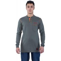 BOCOMAL FR Shirts Flame Resistant Shirts FR T Shirt NFPA2112 CAT2 7oz Men's Long Sleeve Fire Retardant Henley Shirts at  Men's Clothing store