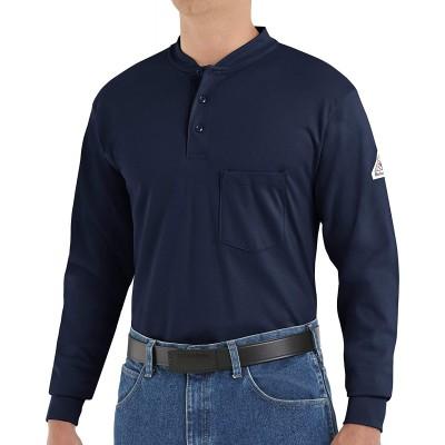 Bulwark Men's Flame Resistant 6.25 Oz Cotton Long Sleeve Tagless Henley Shirt at Men's Clothing store