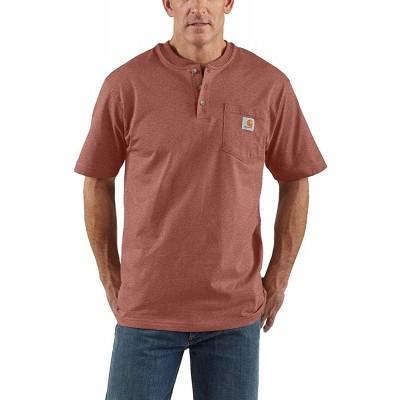 Carhartt Men's Workwear Pocket Henley Shirt Regular and Big & Tall Sizes Auburn Heather 3X-Large Tall at Men's Clothing store
