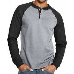 Esobo Men's Long-Sleeved Color Matching T-Shirt Casual Slim-fit Cotton Sleeves Henley Shirts at  Men's Clothing store