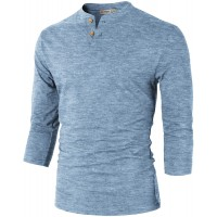 H2H Mens Casual Premium Slim Fit Henley Shirts Lightweight Thin Fabric at  Men's Clothing store