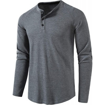 LOCALMODE Men's Casual Crew Neck Long Sleeve T Shirts of Waffle Henley at Men's Clothing store