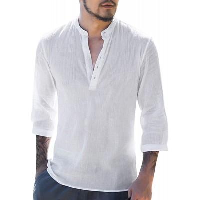 Makkrom Mens Linen Henley Shirts Long Sleeve Summer Casual Loose Fit Beach T-Shirt Tops at Men's Clothing store