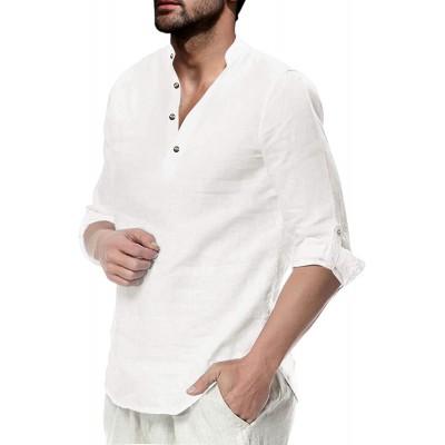 Mens Linen Cotton Henley Shirt Casual Long Sleeve Beach Hippie Yoga Tees Plain Summer Tops at Men's Clothing store