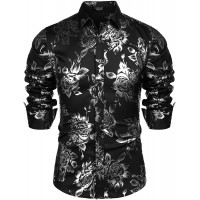 COOFANDY Men's Rose Shiny Shirt Luxury Flowered Printed Button Down Shirt at  Men's Clothing store