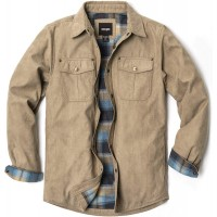 CQR Men's Flannel Long Sleeved Rugged Plaid Cotton Brushed Suede Shirt Jacket