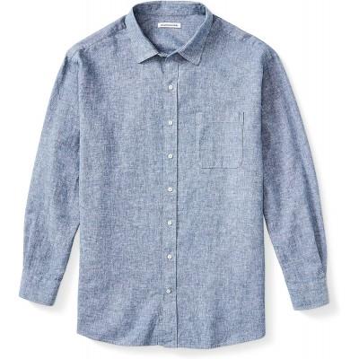 Essentials Men's Big & Tall Long-Sleeve Linen Cotton Shirt fit by DXL