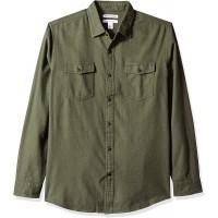Essentials Men's Regular-Fit Long-Sleeve Two-Pocket Flannel Shirt