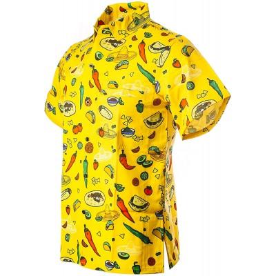 Funny Guy Mugs Men's Seasonal Hawaiian Print Button Down Short Sleeve Shirt at Men's Clothing store