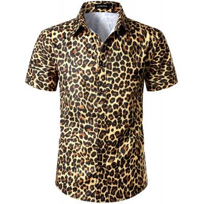 LucMatton Men's Hipster Short Sleeve Button Down Leopard Print Shirt for Club Rock Party
