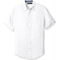 Nautica Men's Short Sleeve Classic Fit Solid Linen Button Down Shirt at  Men's Clothing store