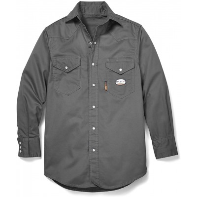 Rasco FR Gray Western Shirt with Snaps Gray X-Large Tall