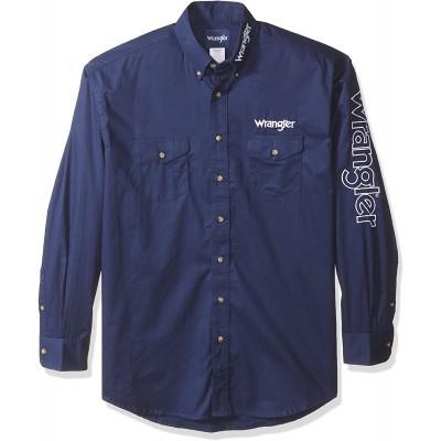 Wrangler Men's Long Sleeve Western Logo Button Shirt at Men's Clothing store
