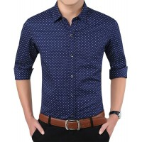 Aiyino Men's 100% Cotton Long Sleeve Plaid Slim Fit Button Down Dress Shirt at  Men's Clothing store