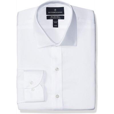 Brand - Buttoned Down Men's Slim Fit Stretch Twill Dress Shirt Supima Cotton Non-Iron Spread-Collar