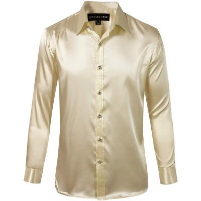 Escalier Mens Long Sleeve Shiny Silk Like Satin Dance Prom Dress Shirt Party Button Down Tuxedo Shirts at Men's Clothing store