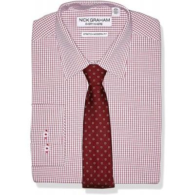 Nick Graham Men's Stretch Modern Fit Plaid Dress Shirt and Dot Tie Set at Men's Clothing store