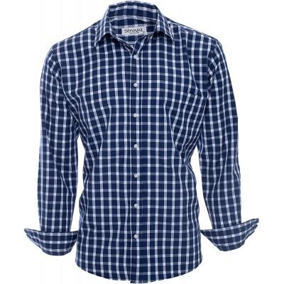 SUVARI Mens Dress Shirt Long Sleeve Regular Fit Casual Button-Down Shirt for Men at  Men's Clothing store