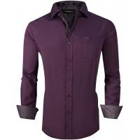 UniFashion Men's Dress Shirts Regular Fit Wrinkle Free Bamboo Fiber Long Sleeve Solid at  Men's Clothing store