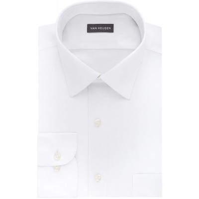 Van Heusen Men's BIG FIT Dress Shirts Lux Sateen Stretch Solid Big and Tall at Men's Clothing store