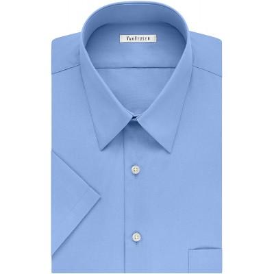Van Heusen Men's BIG FIT Short Sleeve Dress Shirts Poplin Solid Big and Tall at Men's Clothing store