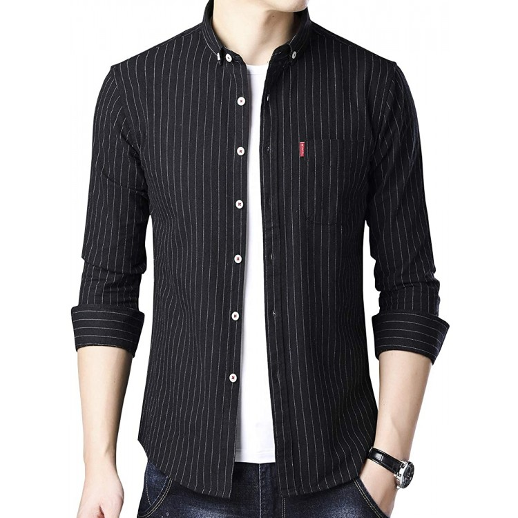 Womleys Mens Long Sleeve Slim Fit Casual Striped Button Down Dress Shirts at Men's Clothing store