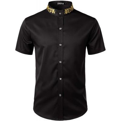 ZEROYAA Mens Hipster Gold Embroidery Mandarin Collar Slim Fit Short Sleeve Casual Dress Shirts at Men's Clothing store