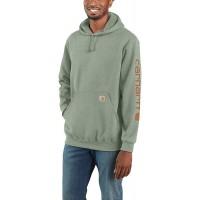 Carhartt Men's Midweight Sleeve Logo Hooded Sweatshirt Regular and Big & Tall Sizes Leaf Green Heather 3X-Large