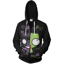 COSMOVIE Mens Invader Zim Gir Doom Hoodies Adult Casual Hooded Zip Up Sweatshirt