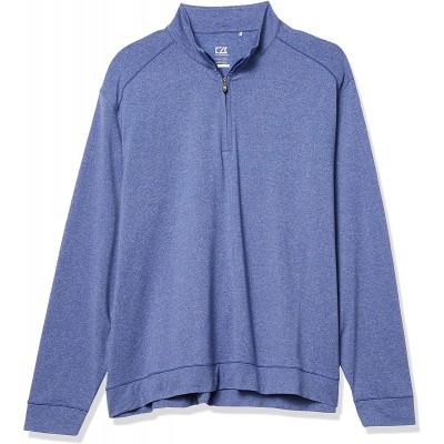 Cutter & Buck Men's Soft Performance Subtle Stripe Shoreline Half-Zip Pullover at Men's Clothing store