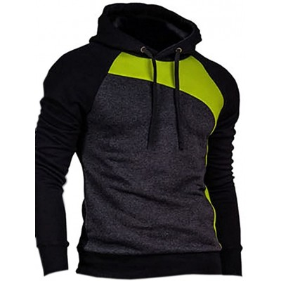 Mooncolour Men's Novelty Color Block Pullover Hoodies Outwear at Men's Clothing store