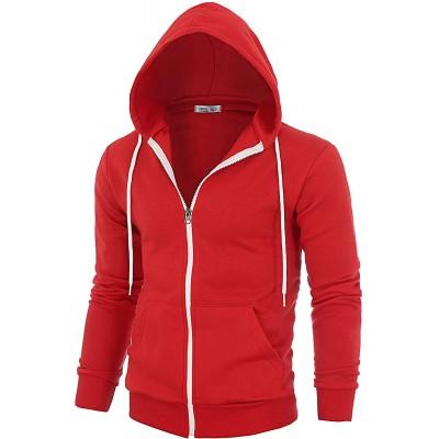 OHOO Mens Slim Fit Long Sleeve Lightweight Zip-up Fleece Hoodie with Kanga Pocket at Men's Clothing store
