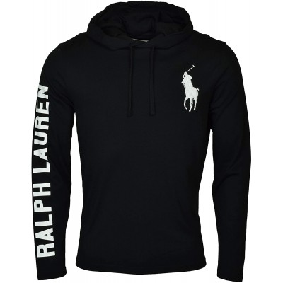 Polo RL Men's Lightweight Long Sleeve Embroidered Pony Graphic Jersey Hoodie at Men's Clothing store