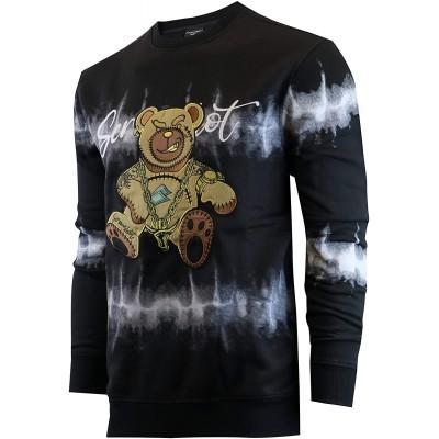 Screenshotbrand Mens Urban Hip Hop Premium Tie Dye Fleece - Pullover Active Urbanwear Street Fashion Crew Neck Sweatshirt at Men's Clothing store