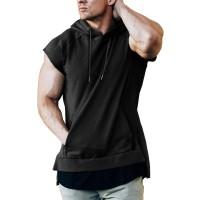 URRU Men's Workout Hoodie Tank Tops Short Sleeve Shirts Gym Fitness Stringers with Kanga Pocket Pockets S-XXL