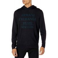 AX Armani Exchange Men's Global Logo Hooded Sweater at  Men's Clothing store