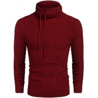 COOFANDY Men's Knitted Turtleneck Sweater Casual Thermal Long Sleeve Pullover at  Men's Clothing store