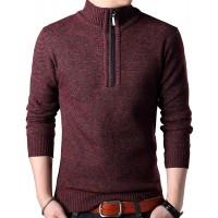 DAVID.ANN Men's Long Sleeve Quarter Zip Sweater Turtleneck Pullover at  Men's Clothing store
